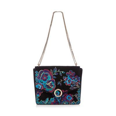 Butterfly by Matthew Williamson Black floral cross body bag | Debenhams