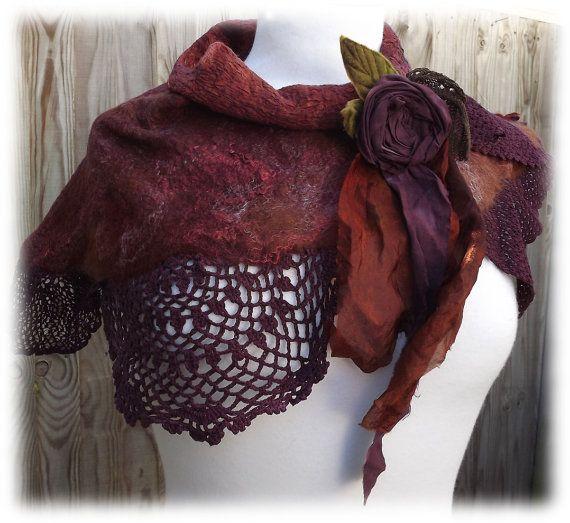 Autumn Shawl =Flower Lace Scarf - wrap - shawlette - lace  scarf - flower scarf - autumn scarf