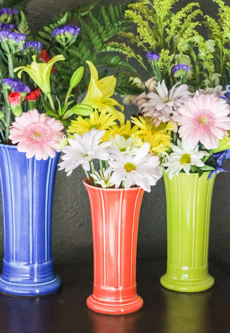 Fiesta Medium Vase In Sapphire Small Vases In Persimmon