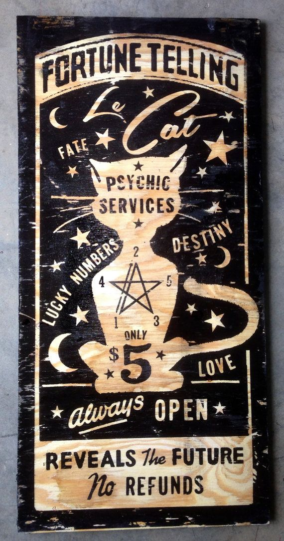 Le Cat Fortune Teller by OldDirtyType on Etsy, $65.00