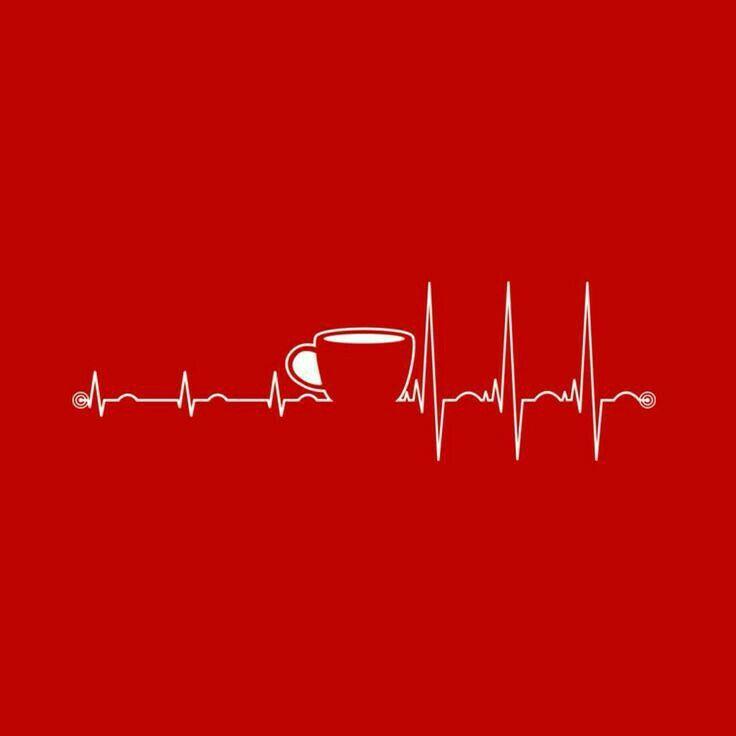 Coffee heartbeat, pulse, ekg, coffee red
