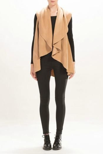 Camel Basic shawl vest with a draped, open front. This shawl can be worn as a scarf, vest, or wrap.