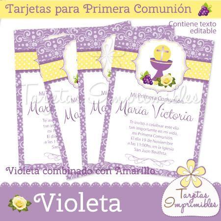 Invitaciones para comuni n de ni as violeta primera - Invitaciones comunion busquets ...