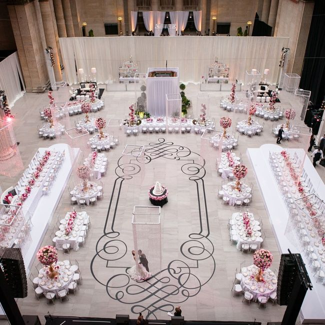 Two large tables that seated 40 people were situated on for Wedding reception layout
