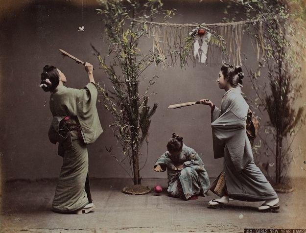 Geishas playing Hanetuki...  unknown photographer