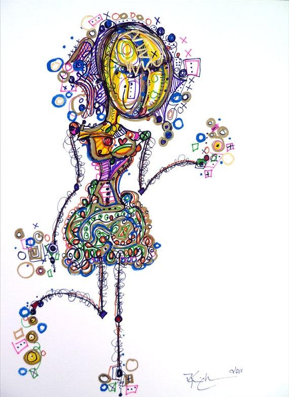 Spunky Girl Stick People Art  9x12 Modern Abstract by KimDeanArt, $45.99