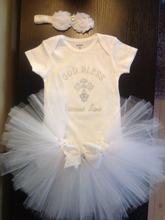 Baby Girl Christening Tutu Outfit personalized embroidered onesie white tutu skirt/ white rosette pearl and rhinestone headband /baptism on Etsy, $53.00