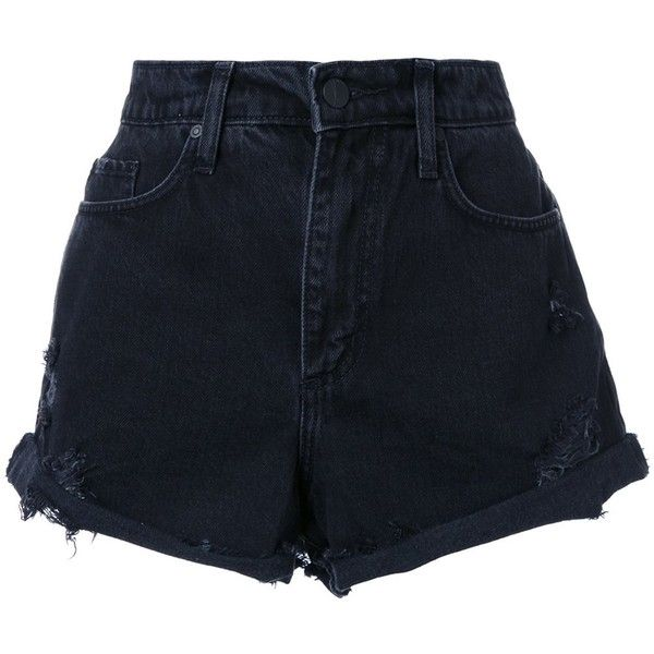 Nobody Denim Skyline shorts (610 RON) ❤ liked on Polyvore featuring shorts, black, nobody denim, highwaist shorts, high waisted boyfriend shorts, cotton shorts and high-rise shorts