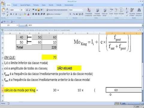 Como calcular a Medida de posição Moda da Estatística pelo Método de King na Planilha Excel.  VídeoAula do Curso de Estatística – Como usar a Planilha Excel para fazer o cálculo e determinação da Moda Bruta de King, que é uma Medida de Posição ou de Tendência Central da Estatística e Probabilidade.  http://youtu.be/nItGU9BuxG0