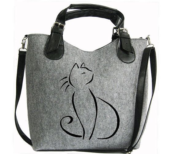 Cat handbag Felt cat purse Cat bag Felted bag by BPStudioDesign