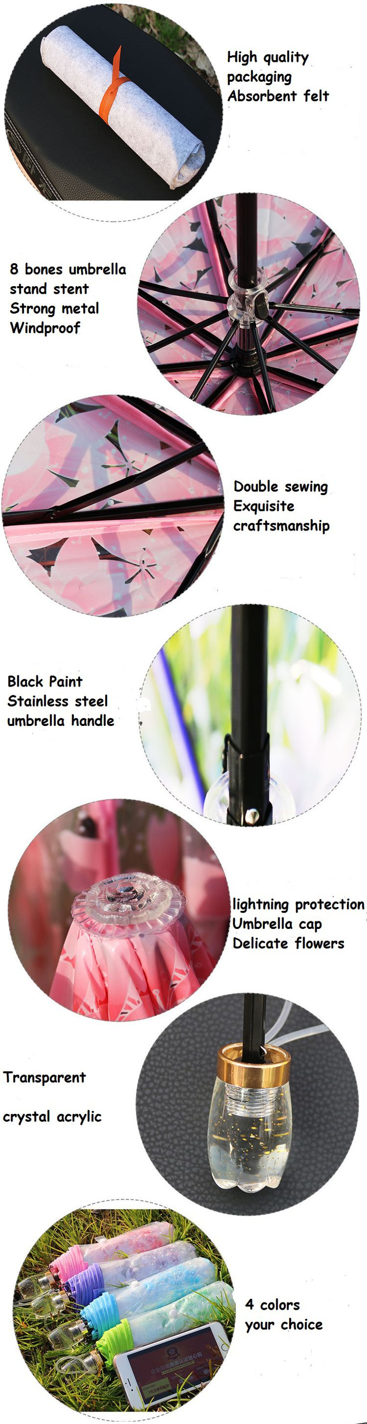SaicleHome PEVA Romantic Cherry Blossoms Transparent Umbrella Folding Umbrella Sun Rain Gear - Newchic
