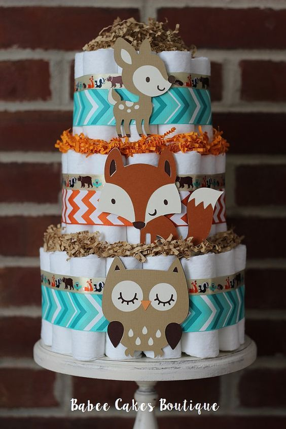 winter woodland animals baby shower decorations | ... woodland baby shower diaper cake tribal woodland baby shower tier
