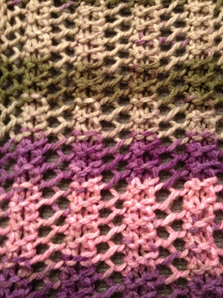 Super fast, super easy lace scarf to knit. Cast on mult of 4 (16 or 20) Slip first stitch of each row (counts as first knit). *K2, yo, k2tog * repreat to end. Bind off when desired length.