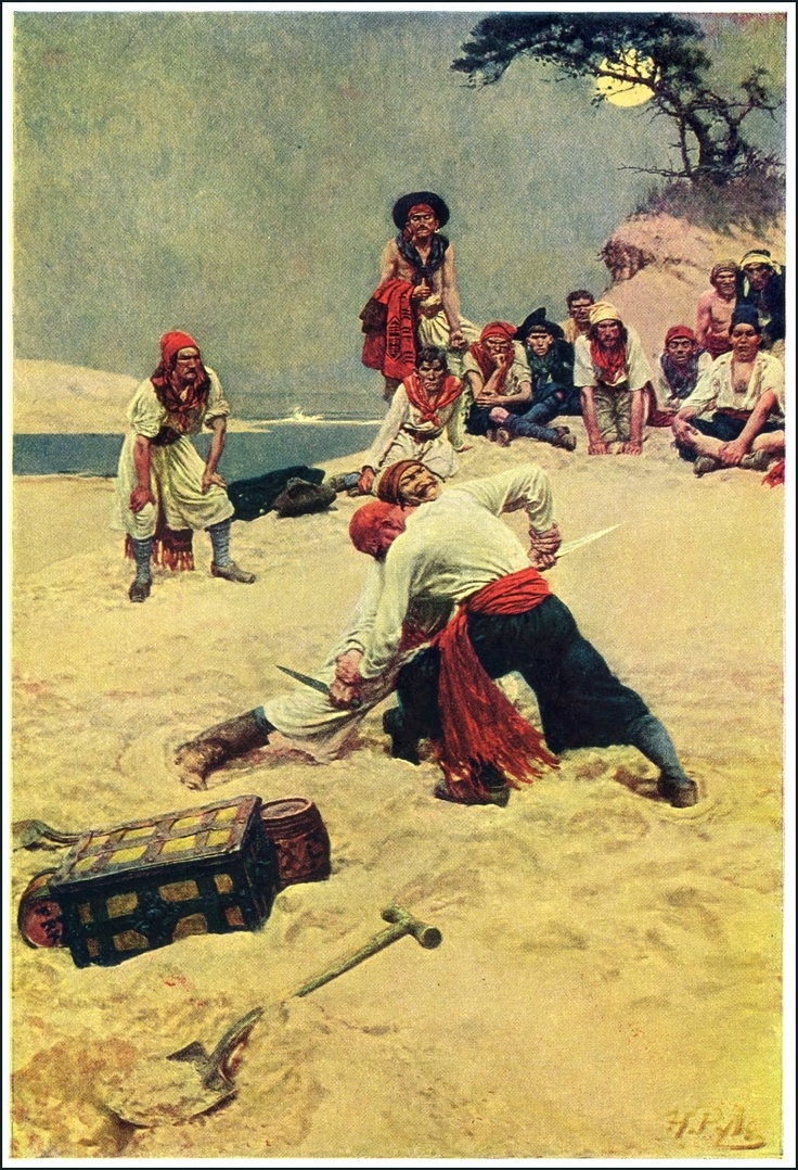 Pirates fight in 'Who Shall Be Captain?' by Howard Pyle