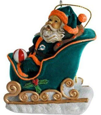 NFL MIAMI DOLPHINS FOOTBALL ORNAMENT SANTA IN SLED