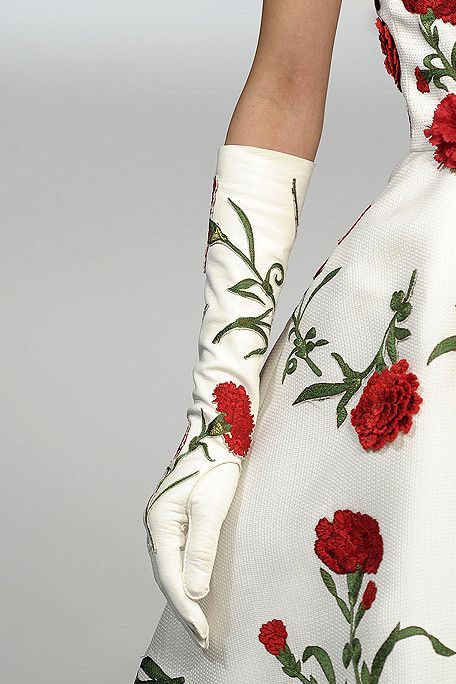 Oscar de la Renta  ... gloves for ladies strike me as so genteel, as if the wearer does not ever need to do anything that might actually get them soiled...
