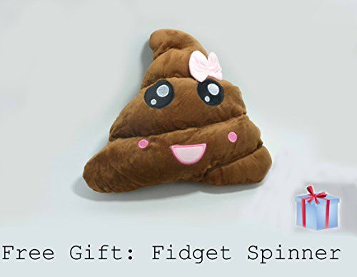 Poop Emoji Plush Pillow Emoticon Ms. Poop Emoji Stuffed Plush Toy Pink Poop with free gift.  Perfect gift for all occasions. Perfect for all age groups  High Quality lint free Ms. Poop Pillow. Super soft and odor free.  Free GIFT for every pillow purchased. ( Fidget Spinner) a random style fidget spinner will be included in every purchase  Super soft pillow for reading, hugging, support or watching TV or movies  Great addition to your room decor. Pillow size is 13 inches