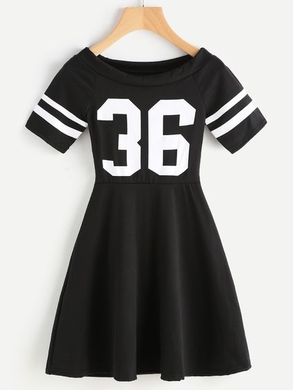 Digital Print Striped Sleeve Flare Dress