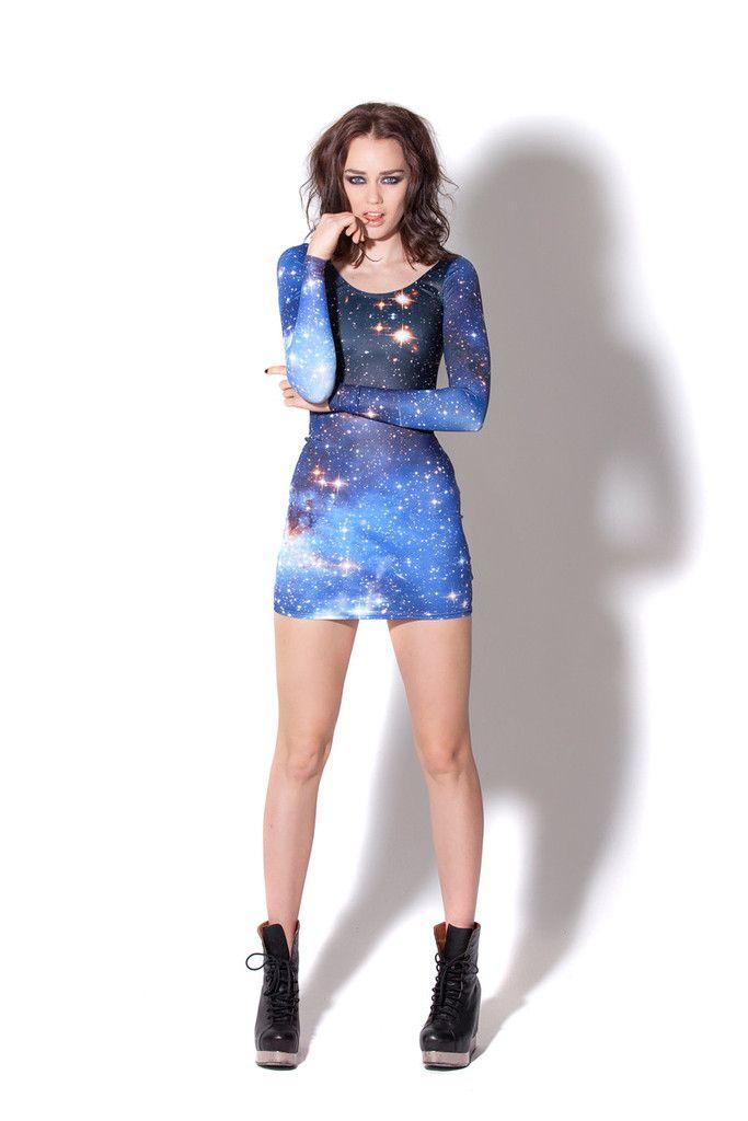 Galaxy Blue long sleeve dress by Black Milk Clothing
