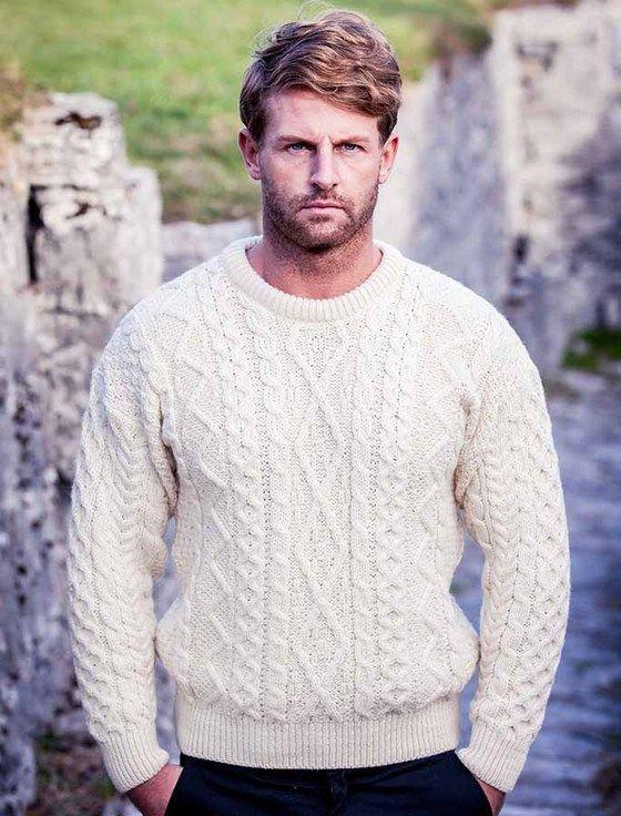 Merino Wool Diamond Sweater Mens - Natural White