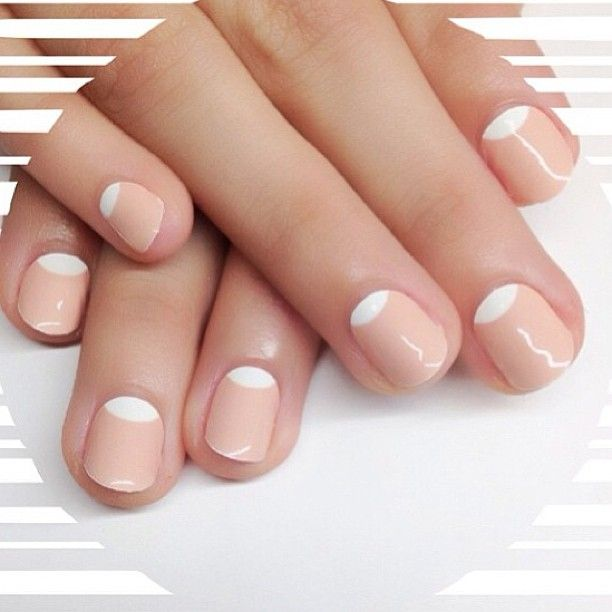 Half moon mani...awesome because I'm obsessed with nude nails!!