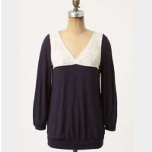 """Anthropologie Postmark Navy and Lace Top Ivory lace takes the plunge in this casual V-neck pairing of modal and wool.  Great condition.  Worn only a few times. 3/4 sleeves Modal, wool Hand wash 25""""L Style No. 23866817 Anthropologie Tops Blouses"""