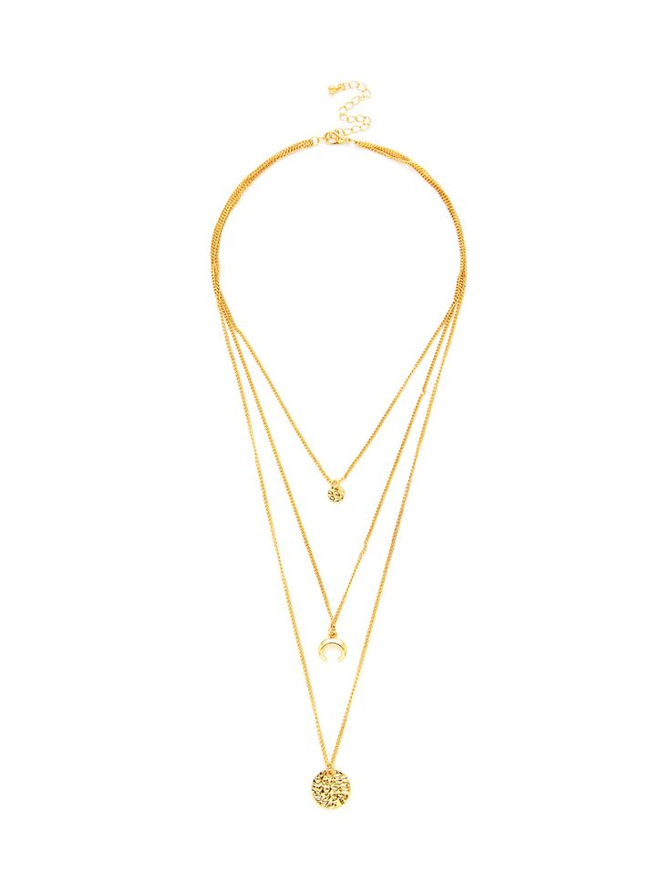 Shop Round Pendant Three Layered Chain Necklace online. SheIn offers Round Pendant Three Layered Chain Necklace & more to fit your fashionable needs.