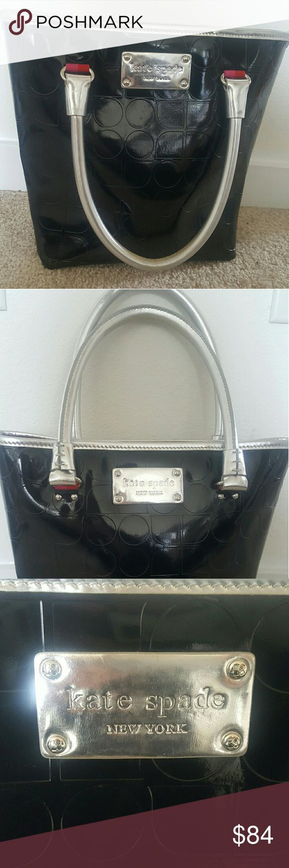 "Kate Spade Black Patent Leather Bag Black Patent Leather ""Daisy Shopper: Gansevoort Noel"" Bag with silver trim and red interior. Used <10 times. Great condition! kate spade Bags Shoulder Bags"