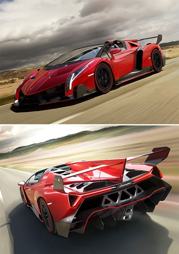 Lamborghini Veneno Roadster 750bhp/0-100km in 2,9secs,355km/1490kg/4,5m.$ It's amazing pleasure