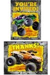 Monster Jam Party Supplies Invitation/Thank You Note Combo Pack