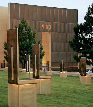 Survivors' Wall, Oklahoma City National Memorial, Oklahoma City, Oklahoma - The only remaining original portions of the Murrah Building are the north and east walls, known as the Survivors' Wall. The Survivors' Wall includes several panels of granite salvaged from the Murrah Building itself, inscribed with the names of more than 600 survivors from the building and the surrounding area, many of whom were injured in the blast.