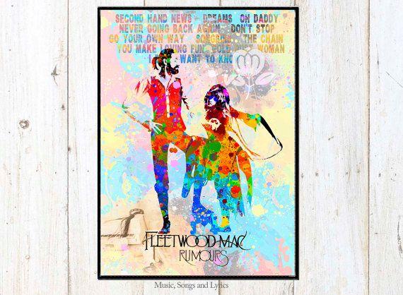 Rumours Album of Fleetwood Mac Watercolor digital poster. Watercolor Prints…