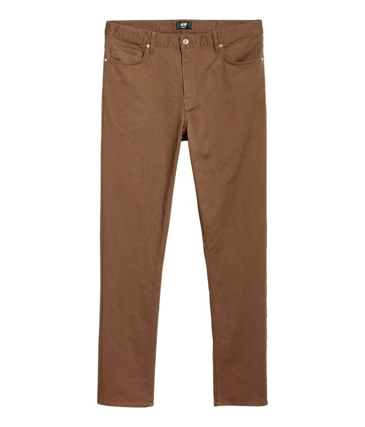 Pantalón de sarga Slim fit | Camel | HOMBRE | H&M MX