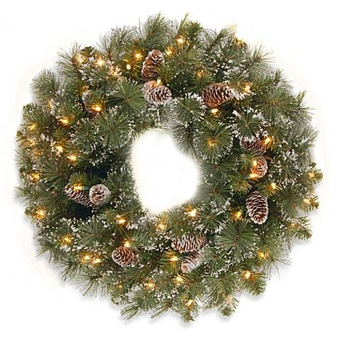 National Tree Company Glittery Pine 24-Inch Wreath Pre-lit with 50 Clear Lights