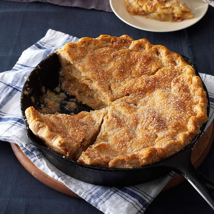 Apple pie baked in a cast iron skillet is a real stunner. This beauty, with its flaky, tender crust, also works in a 9-inch deep-dish pie plate. | Cinnamon-Sugar Apple Pie Recipe from Taste of Home
