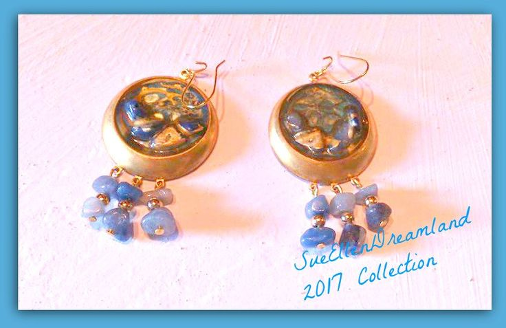 end of year sale 20% ,jeans outfit jewelry ,pebeo enamel dangle earrings brass blue chips resin gold ,ooak,ready to ship,egst,gift for her by SueEllenDreamland on Etsy