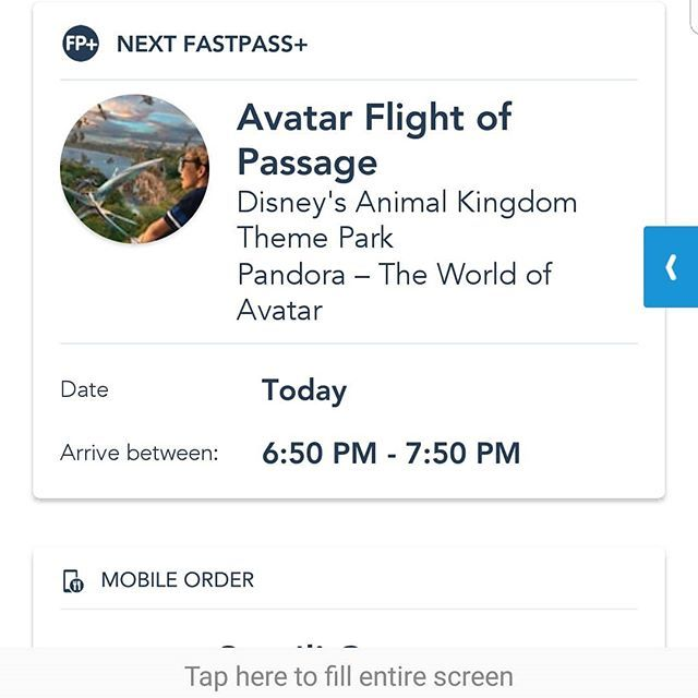 Gotta love scoring a last minute fastpass! Think I need to play the lotto today. First be our guest for breakfast and now Flight of Passage for later! - - #flightofpassage #animalkingdom #fastpass