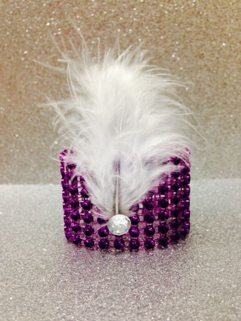 purple rhinestone mesh + white feather and jewel!