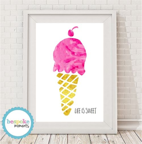 Watercolour Gelato Icecream Print by Bespoke Moments. Worldwide Shipping Available.