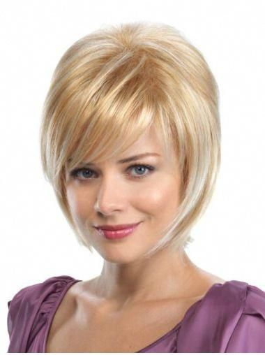 """Straight 8"""" Blonde Synthetic Bobs Medium Wigs #howtogetcurlyhair"""