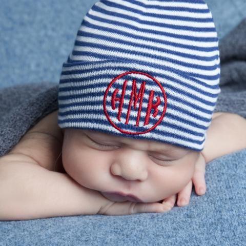 Navy and White Striped Circle Monogram Newborn BOY hospital baby hat #Melondipity