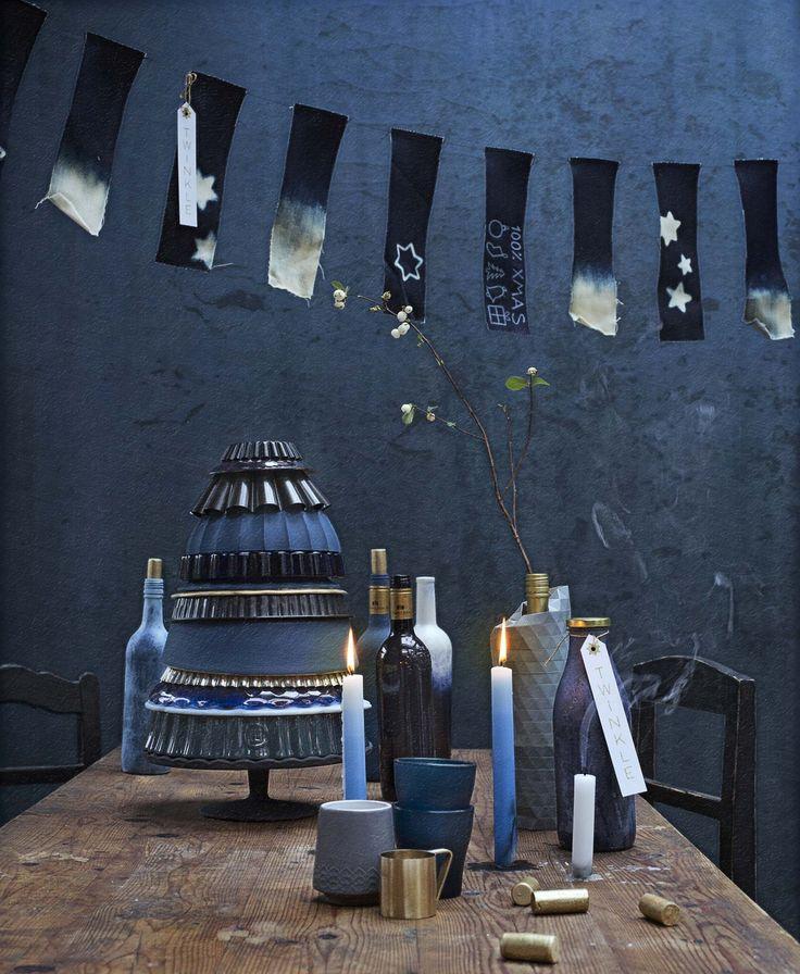 Blauwe kerst en DIY feestslinger | Blue christmas DIY garland | Bron: vtwonen december feestspecial 2015 | Styling Anke Helmich | Fotografie Dana van Leeuwen