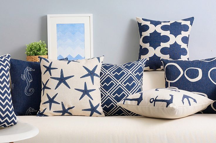 Custom made Mediterranean style Cushion elegant navy blue Chair Cushion American geometric abstract Cushions For Sofas-in Cushion from Home & Garden on Aliexpress.com | Alibaba Group