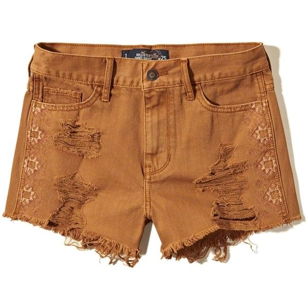 Hollister Embroidered High Rise Short-Shorts (595 RUB) ❤ liked on Polyvore featuring shorts, short, hollister, destroyed orange, high waisted hot pants, orange high waisted shorts, micro shorts, high-waisted shorts and short shorts