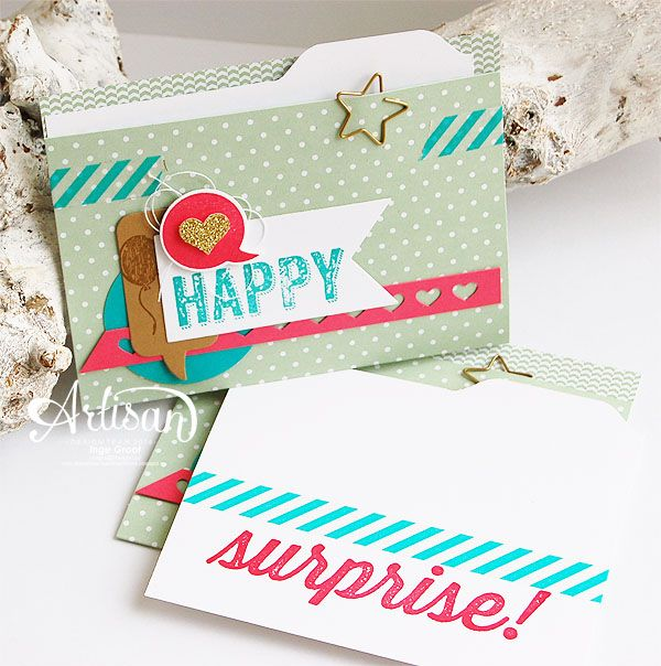 Birthday Surprise, Hooray It's Your Day Card Kit, Banners Framelits, Hearts Border Punch -Inge Groot-