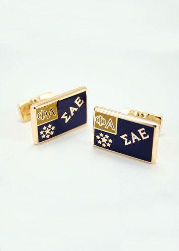 Sigma Alpha Epsilon Gold Plated Flag Cuff Links