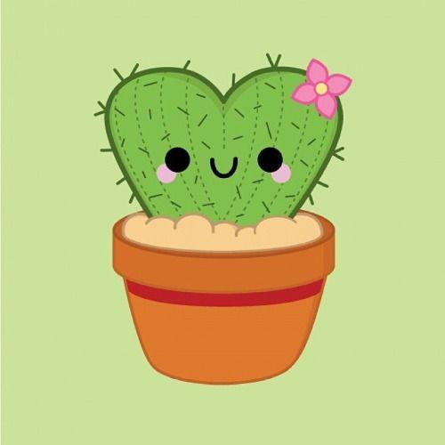 Heart Cactus © pincinc 2014 - I love drawing these! #kawaii #cute #illustration…