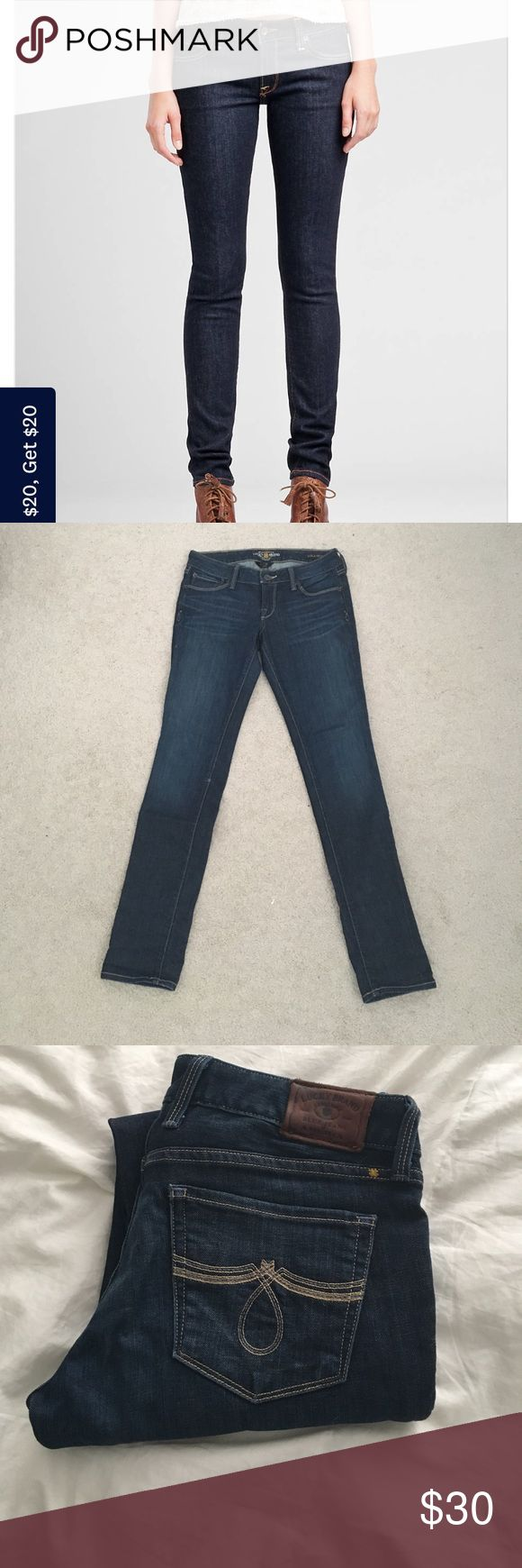 Lucky Brand skinny jeans Dark blue lucky brand skinny ankle jeans! They have been wore twice and in perfect condition! The type of jean is Lola skinny. They are size 25 or 0 Lucky Brand Jeans Skinny