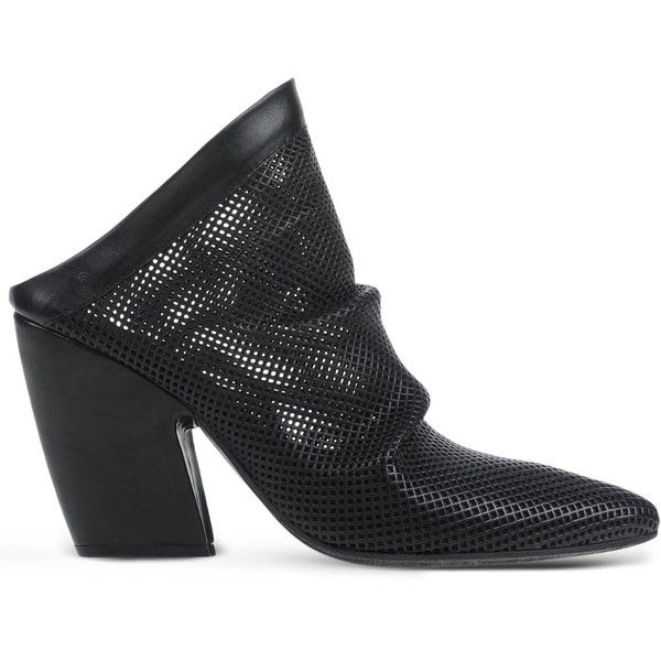 Marsèll Mules (£420) ❤ liked on Polyvore featuring shoes, black, black leather mules, real leather shoes, black mules, leather mule shoes and black leather shoes