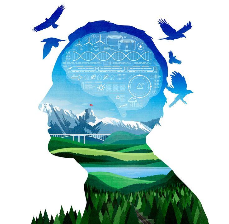 Swiss scientific mind / Die Zeit Schweiz ©Benedetto Cristofani, all right reserved #diezeit #switzerland #science #technology #swiss #illustration #editorial #editorialillustration #conceptual #conceptualillustration #graphic #graphicdesign